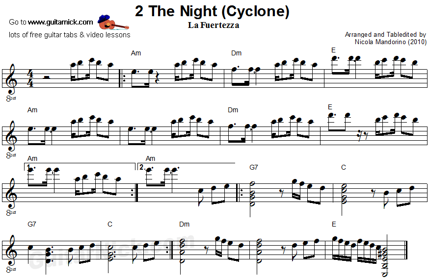 2 The Night - flatpicking guitar sheet music