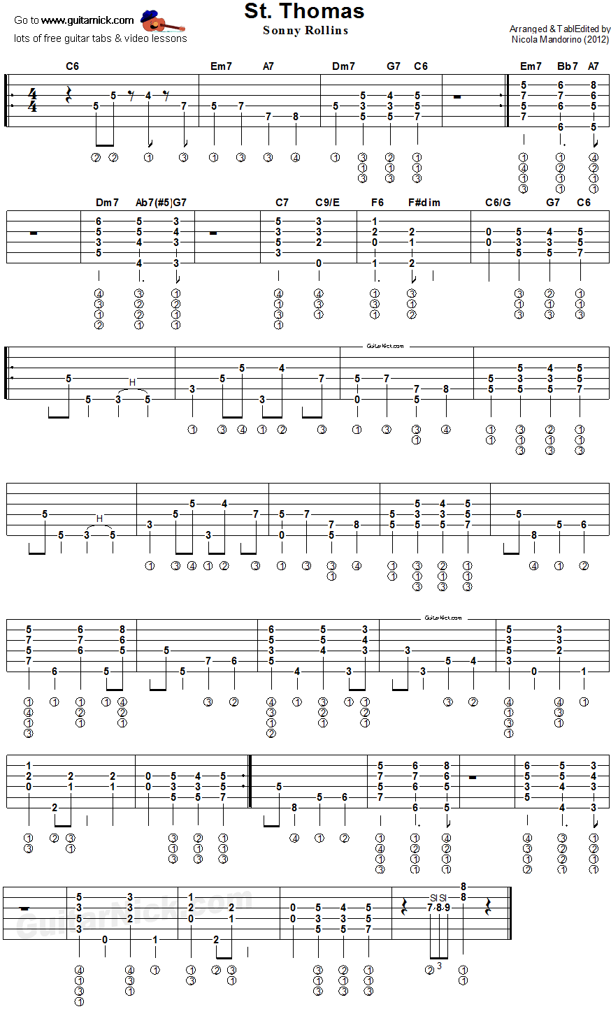 St. Thomas - fingerstyle guitar tab