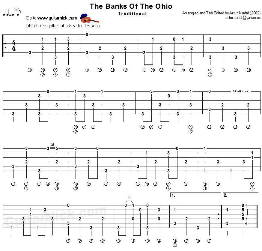 The Banks Of Ohio - fingerpicking guitar tablature