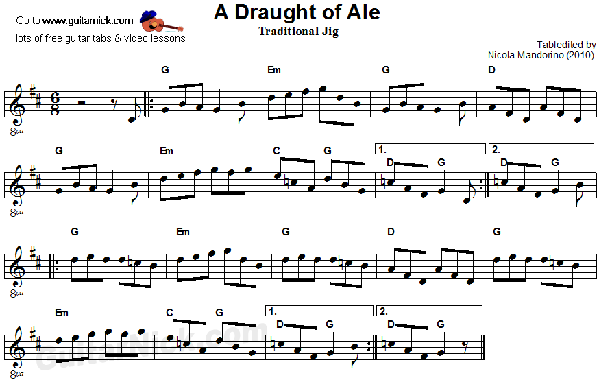 A Draught Of Ale - guitar score
