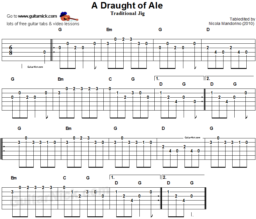 A Draught Of Ale - guitar tablature