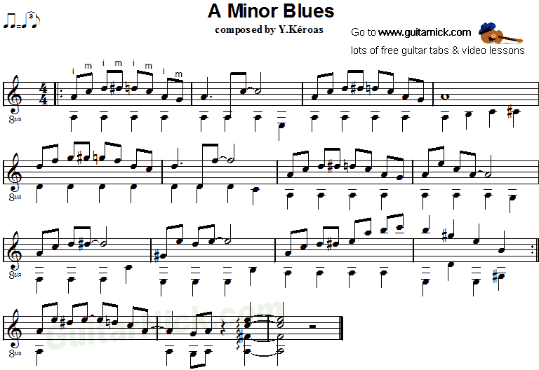 A MINOR BLUES: Fingerstyle Guitar Tab - GuitarNick com