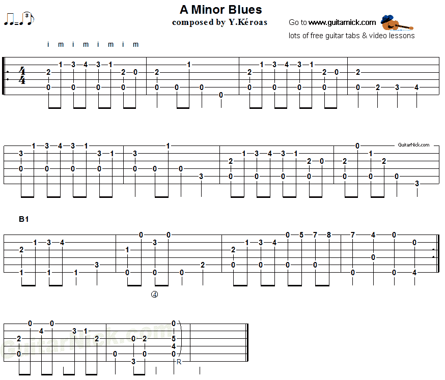 A MINOR BLUES: Fingerstyle Guitar Tab - GuitarNick.com