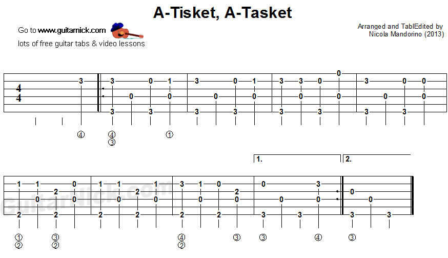 A Tisket, A Tasket - fingerpicking guitar tablature