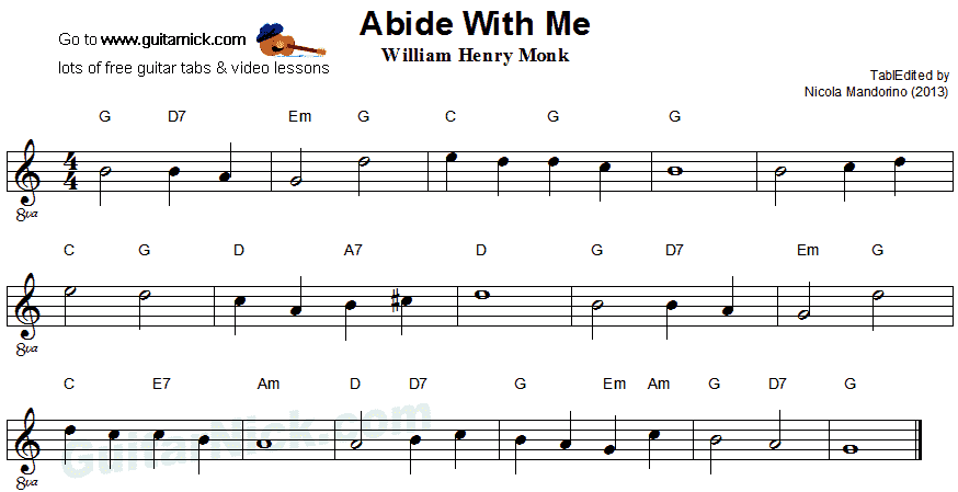 Abide With Me: easy guitar sheet music