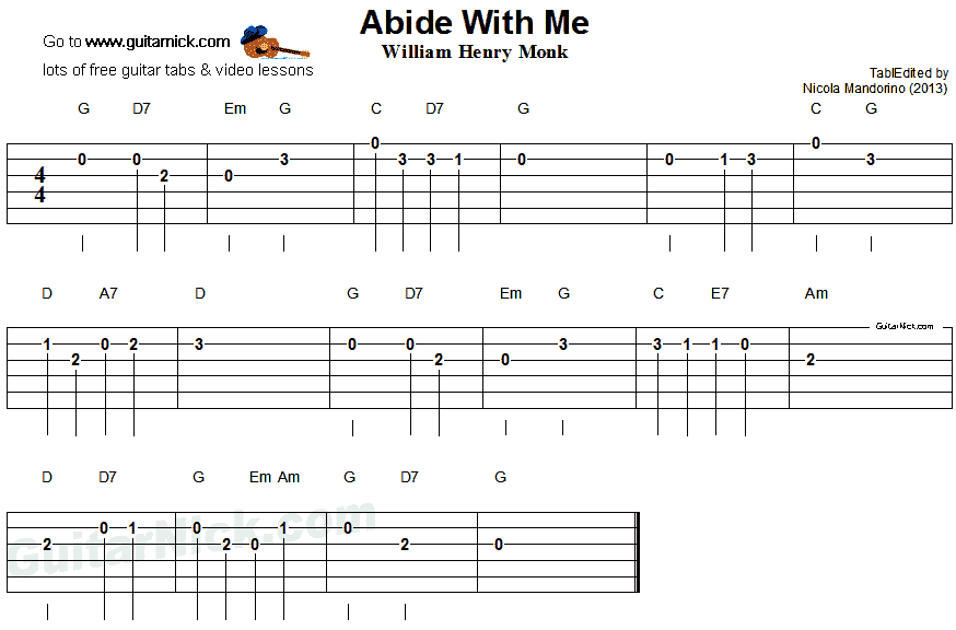 Abide With Me - easy guitar tablature