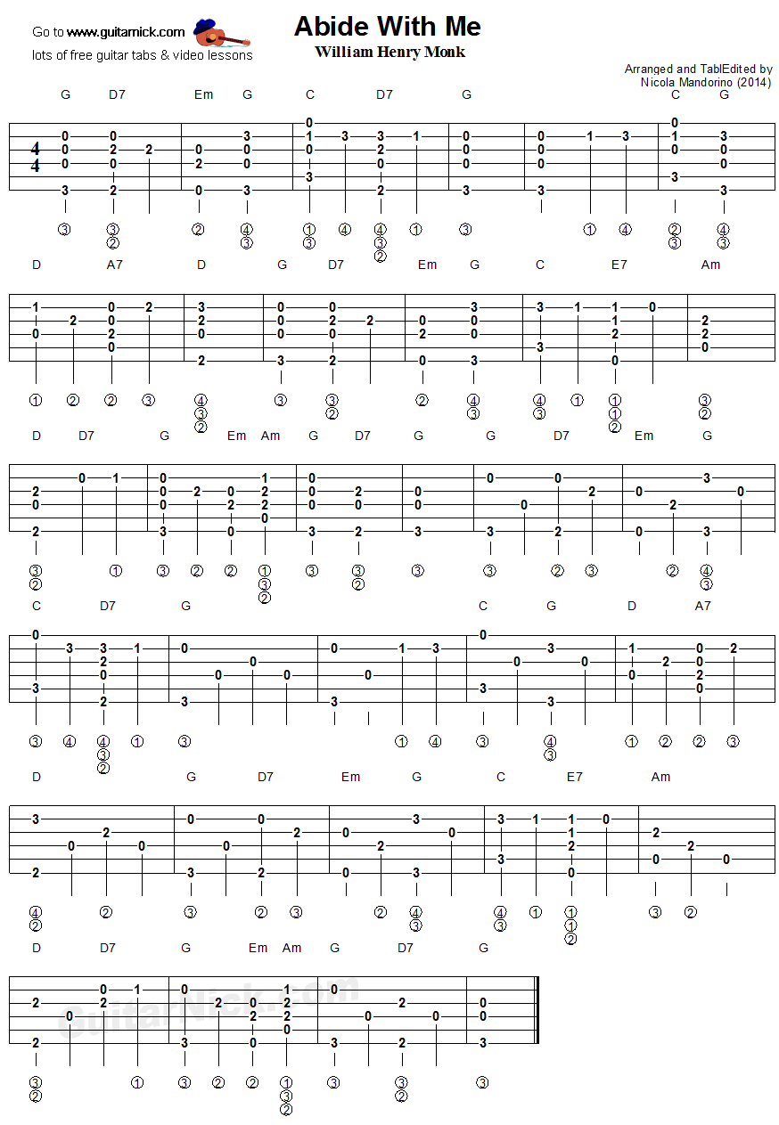 Abide With Me - Fingerstyle guitar tab
