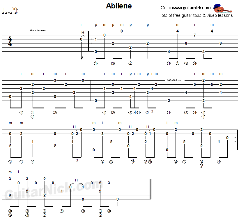 Abilene - fingerpicking guitar tablature