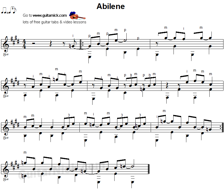 Abilene - fingerpicking guitar sheet music