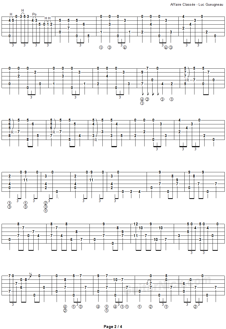 Affaire Classee - fingerstyle guitar tab - page 2