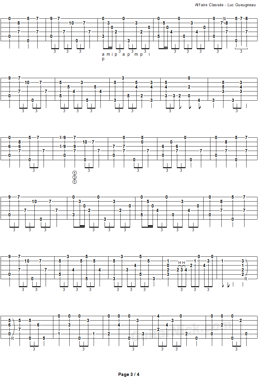 Affaire Classee - fingerstyle guitar tab - page 3