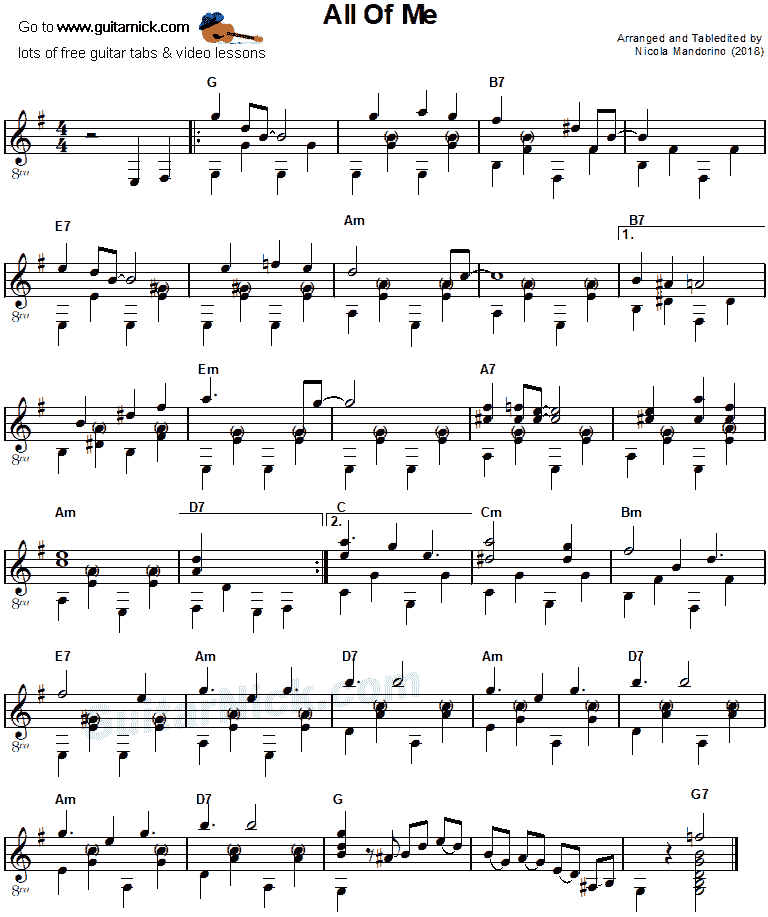 All Of Me - guitar sheet music