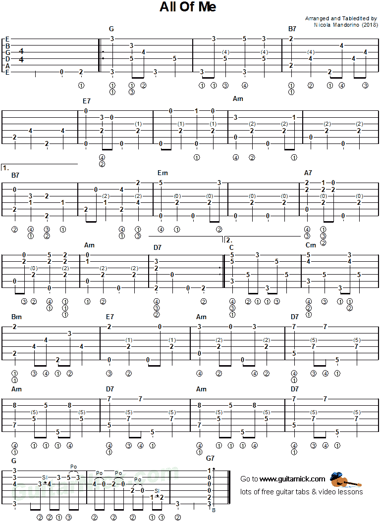 All Of Me - fingerpicking guitar tab