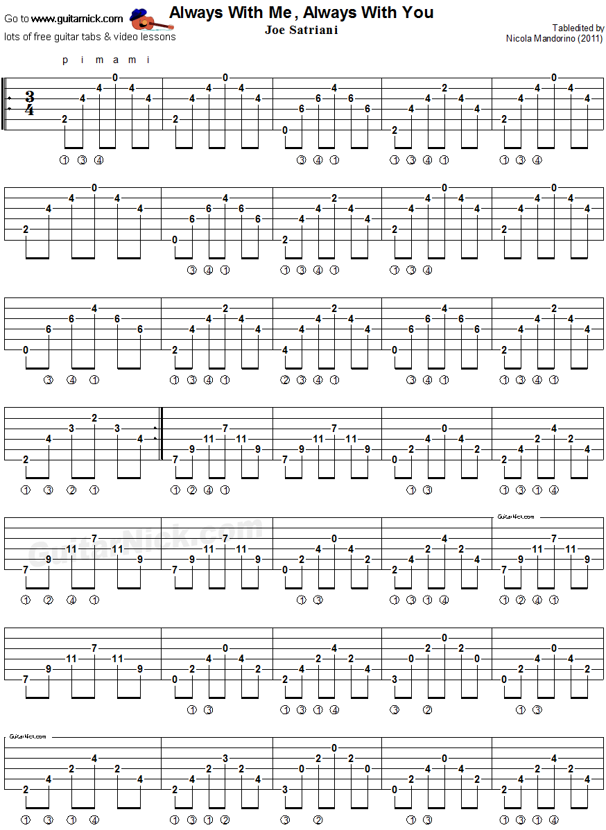 Always With Me, Always With You - fingerstyle guitar tablature 1