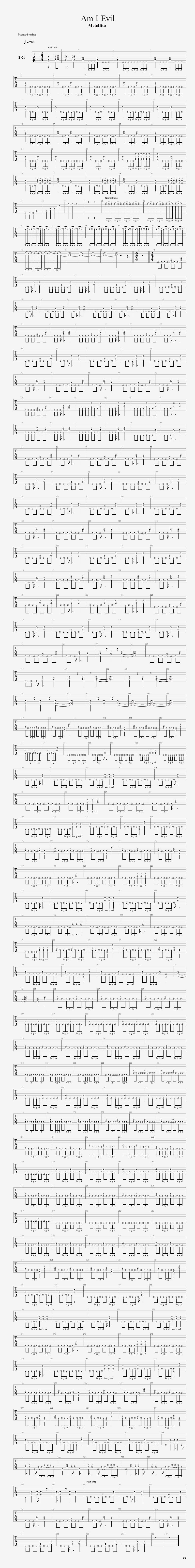 AM I EVIL Guitar Tab: GuitarNick.com