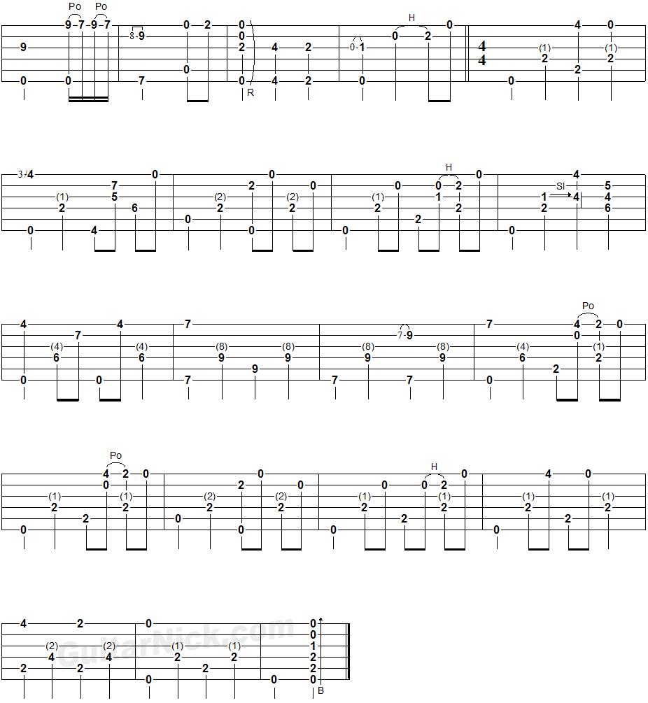 AMAZING GRACE Fingerstyle Guitar TAB: GuitarNick.com
