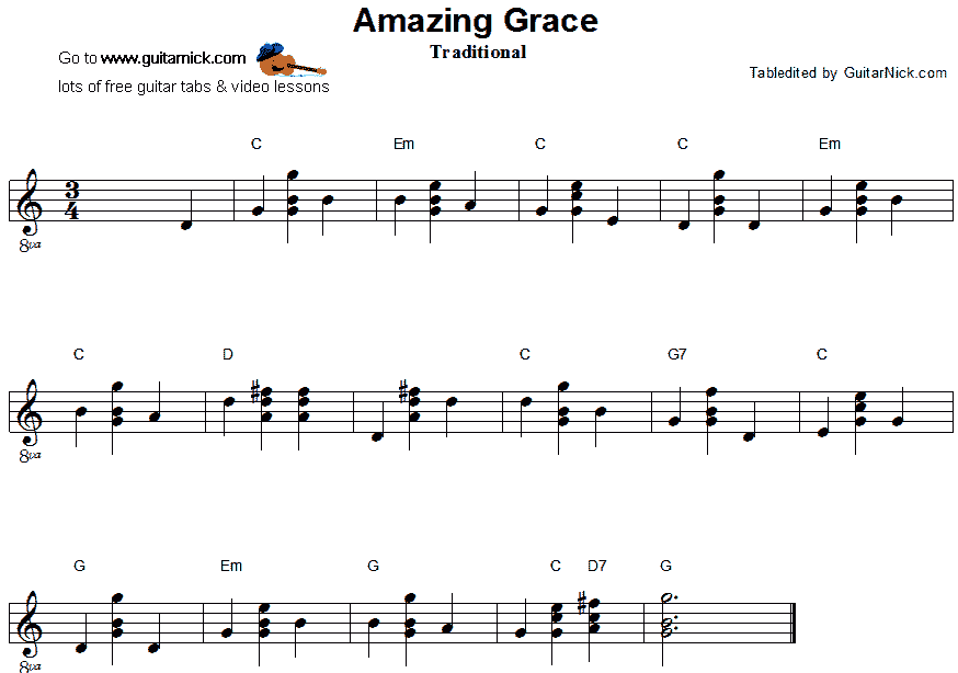 Amazing Grace - easy guitar chords sheet music