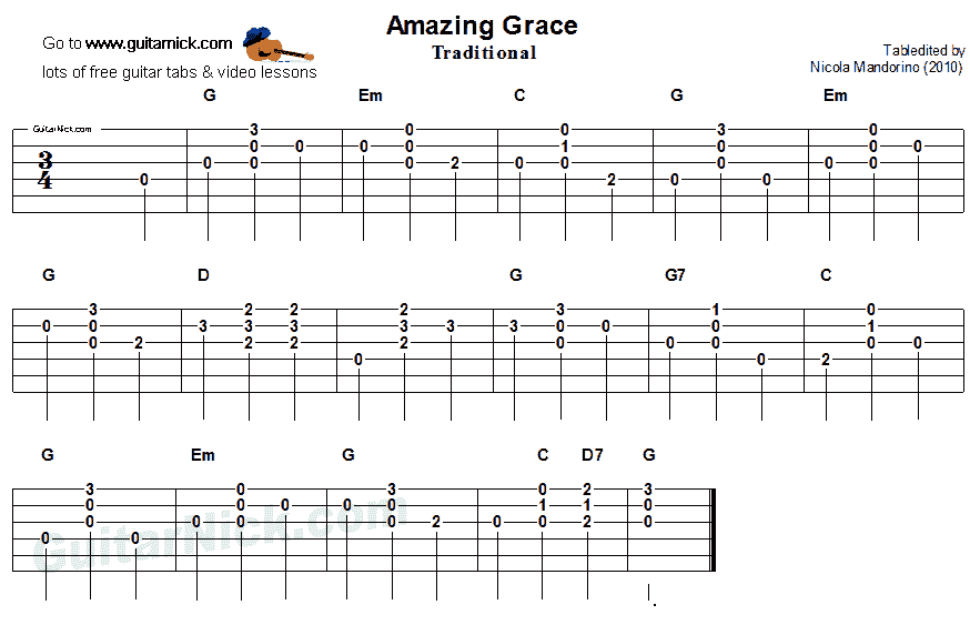 Amazing Grace - easy guitar chords tab