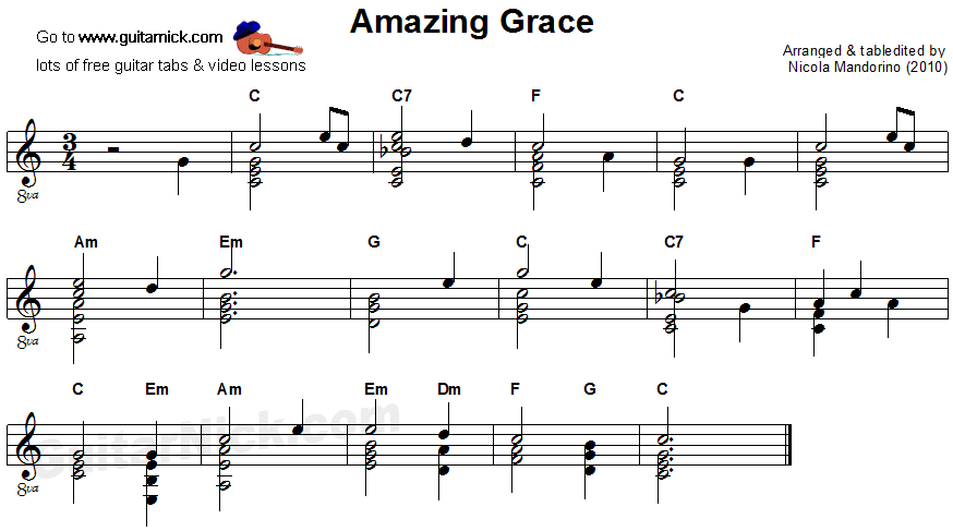 Amazing Grace - flatpicking guitar sheet music