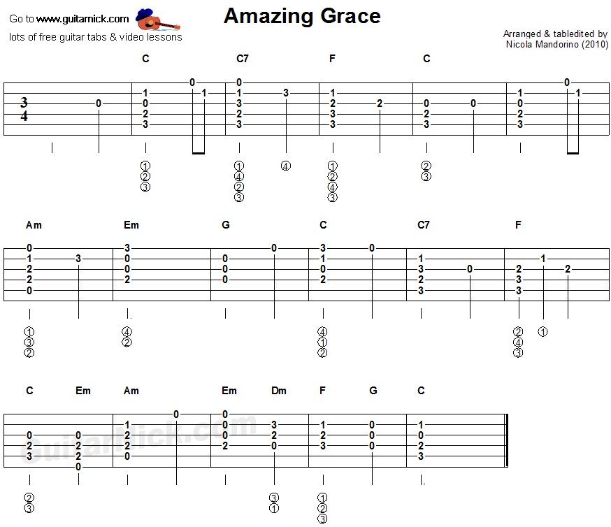 Amazing Grace - flatpicking guitar tablature