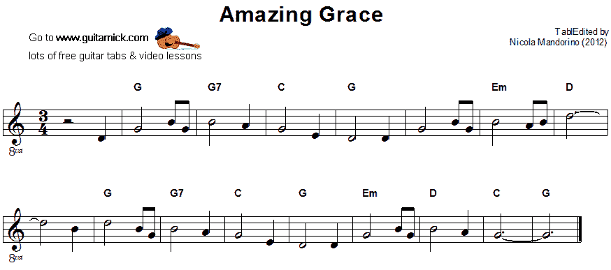 Amazing Grace - easy guitar sheet music