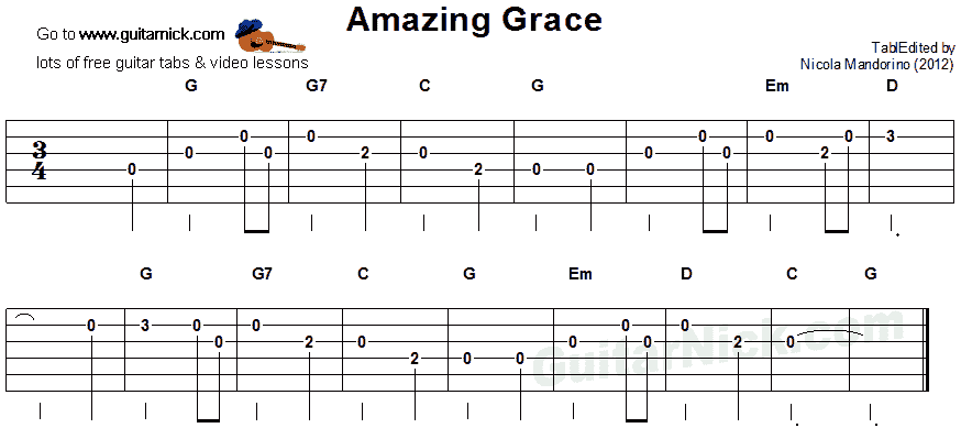 Guitar guitar tabs easy : AMAZING GRACE Easy Guitar Lesson: GuitarNick.com