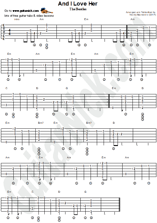 And I Love Her - fingerstyle guitar tab