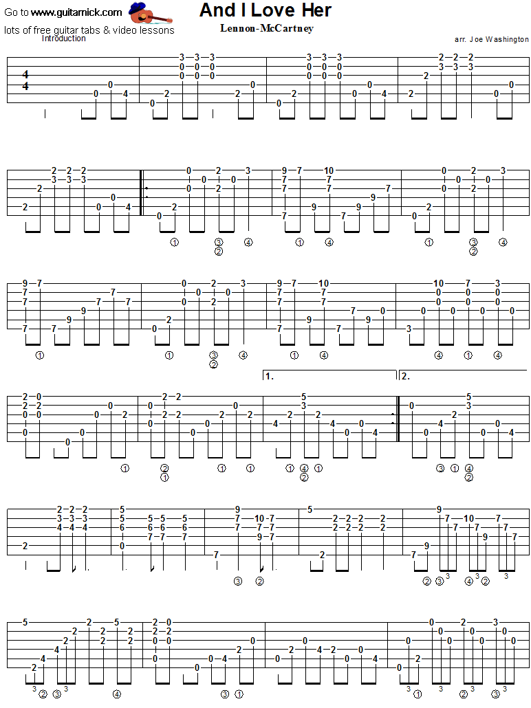 And I Love Her - guitar tab 1