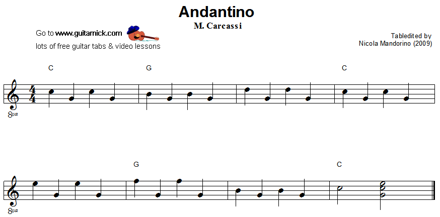 andantino easy guitar lesson. Black Bedroom Furniture Sets. Home Design Ideas