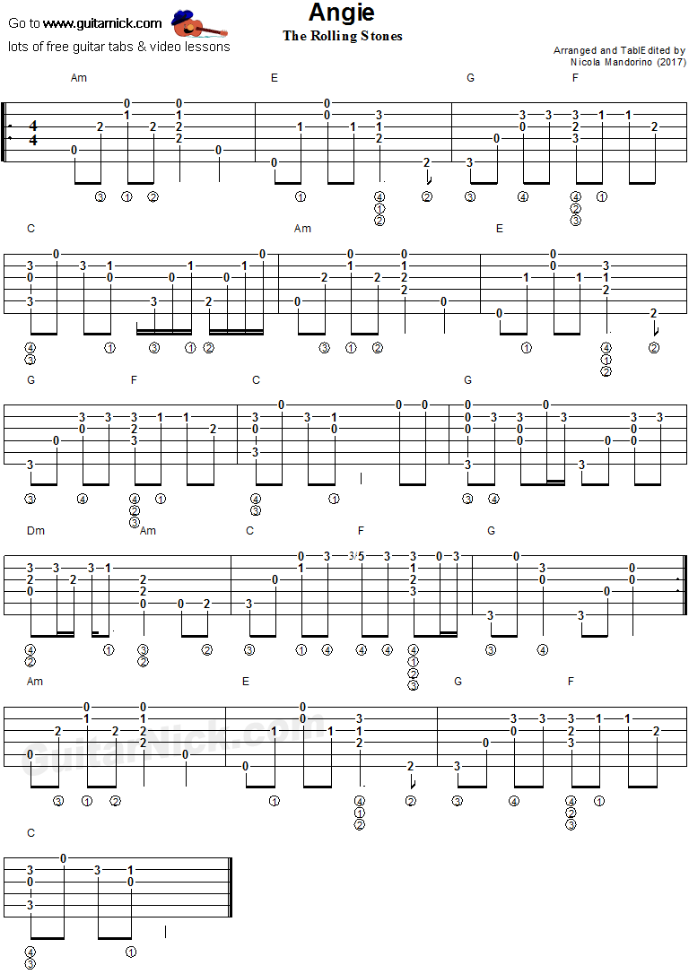 Angie - fingerstyle guitar tab