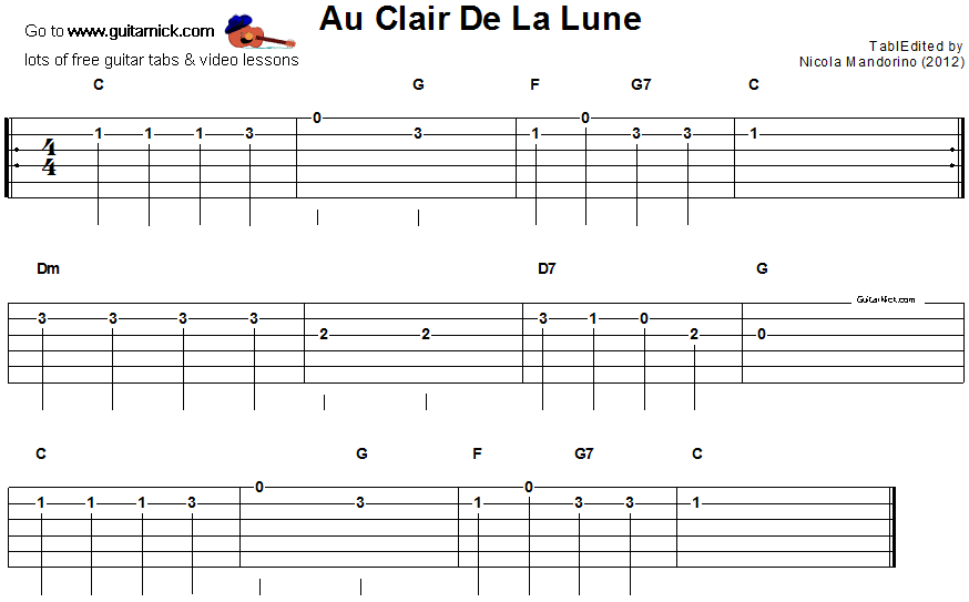 partition guitare au claire de la lune