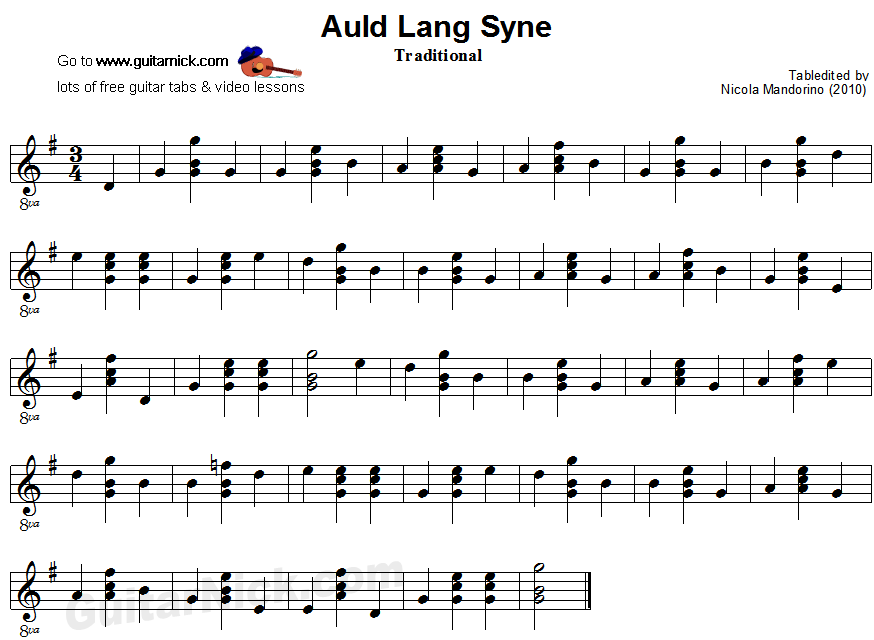 Lyric same old lang syne lyrics : AULD LANG SYNE Easy Guitar Lesson: GuitarNick.com