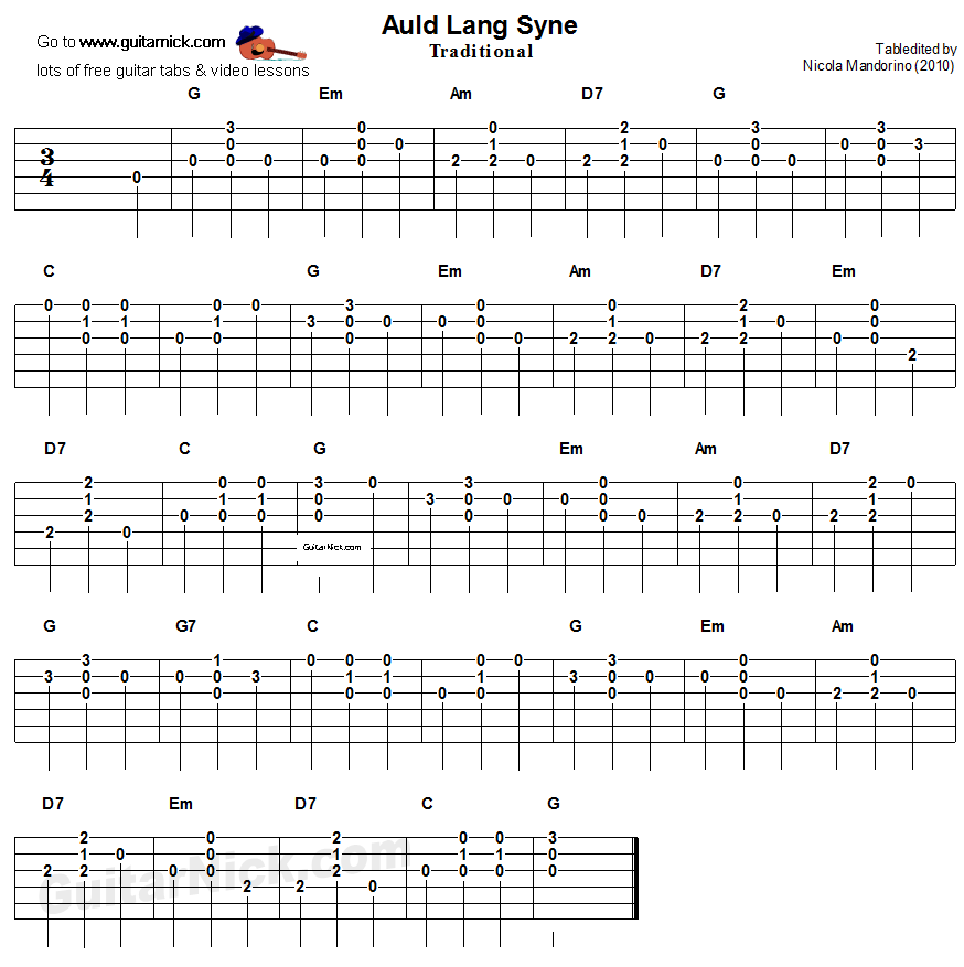 Auld Lang Syne: easy guitar tablature