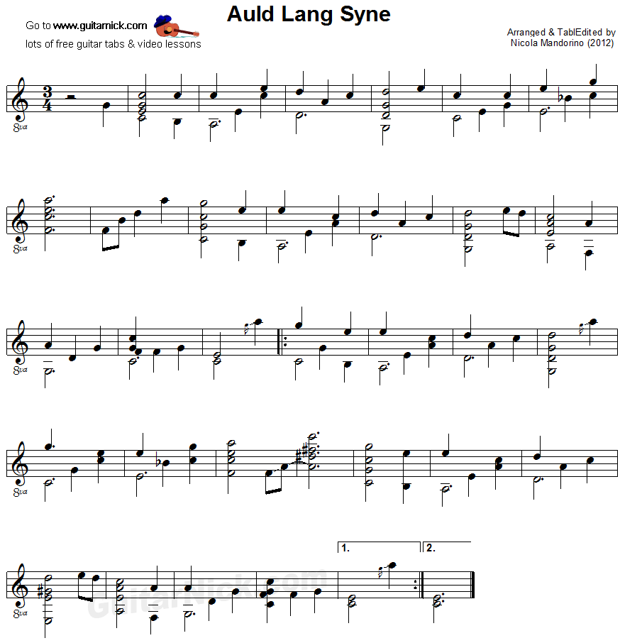 Auld Lang Syne - fingerstyle guitar sheet music