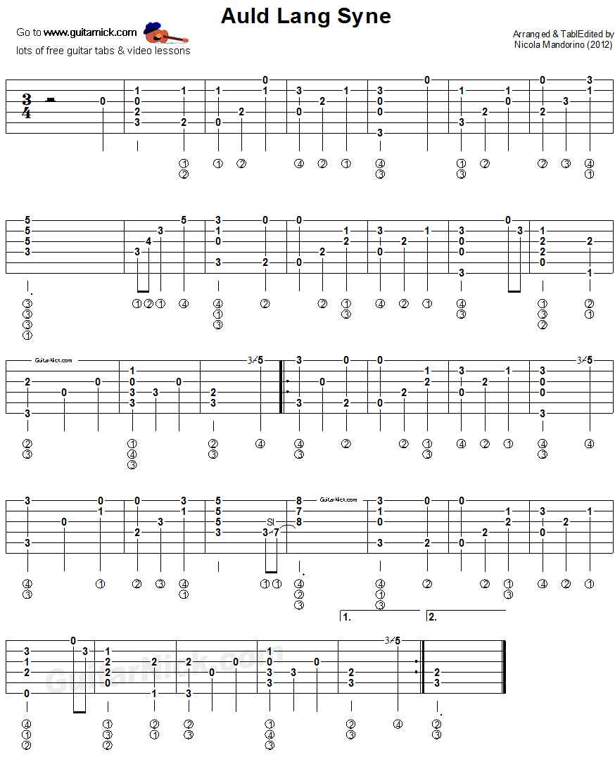 AULD LANG SYNE: Fingerstyle Guitar Tab - GuitarNick.com