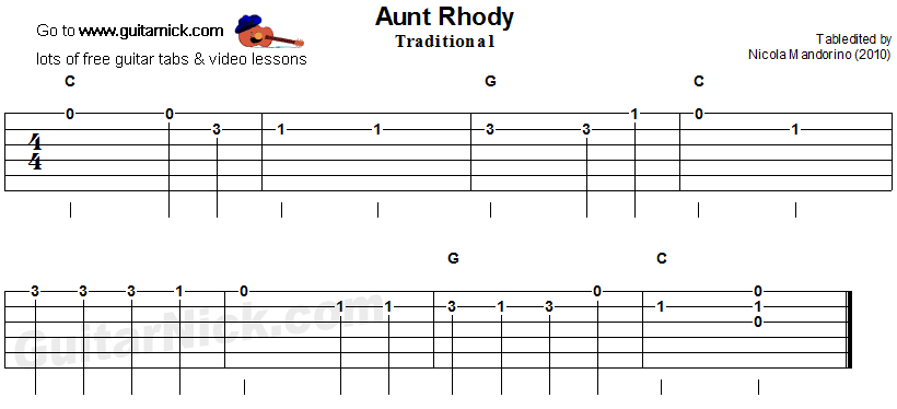 Aunt Rhody: easy guitar tablature