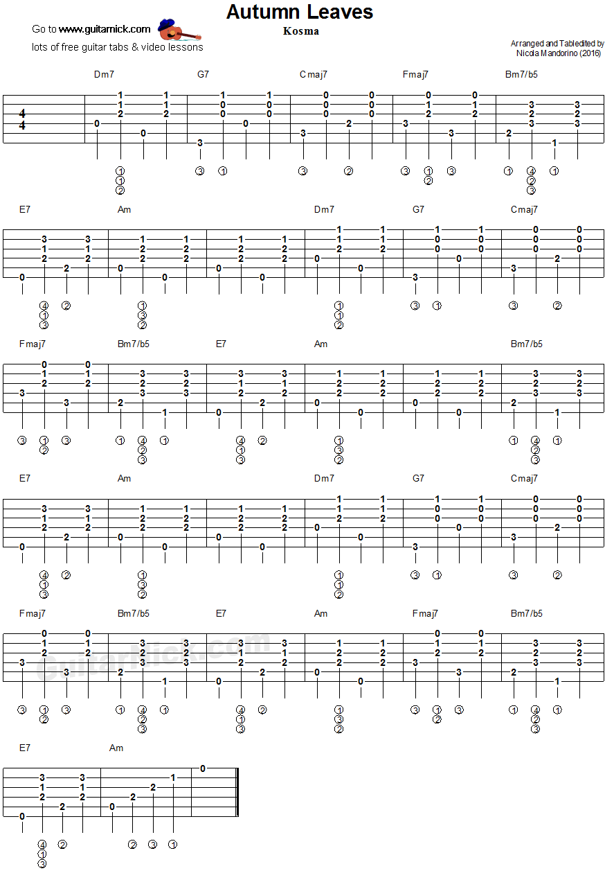 Autumn Leaves Solo Guitar Pdf Tabs - livinrunner