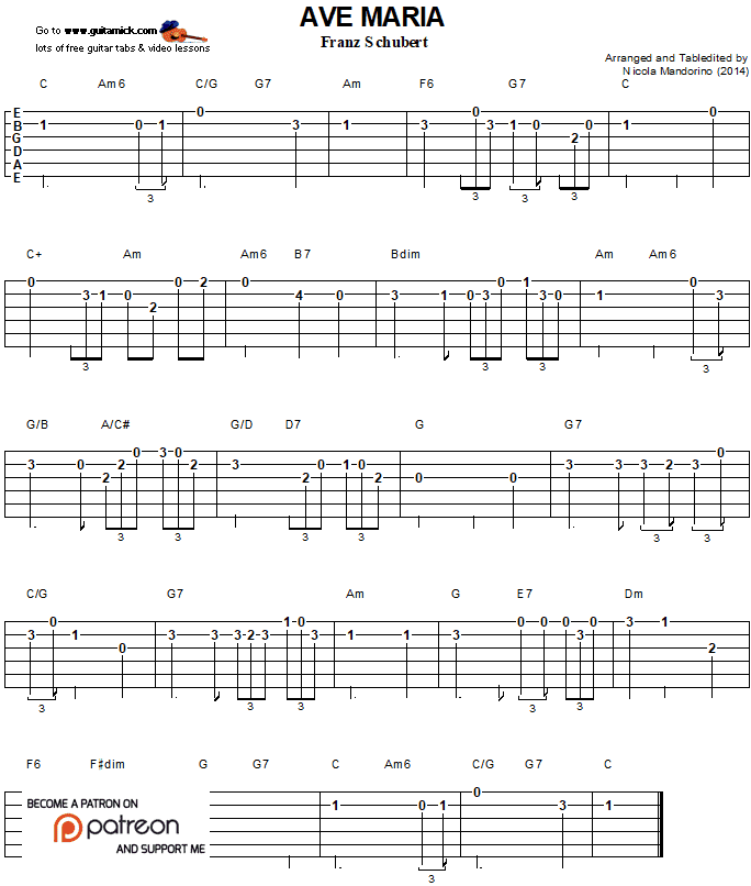 Ave Maria - easy guitar tab 1