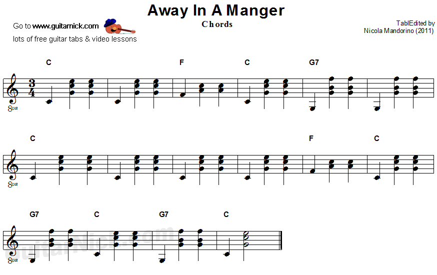 Away In A Manger; guitar chords sheet music