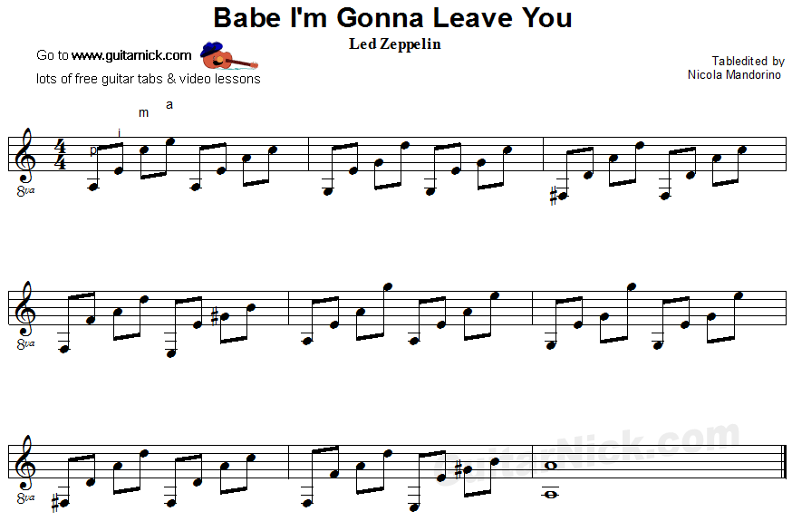 BABE I'M GONNA LEAVE YOU - fingerstyle guitar sheet music