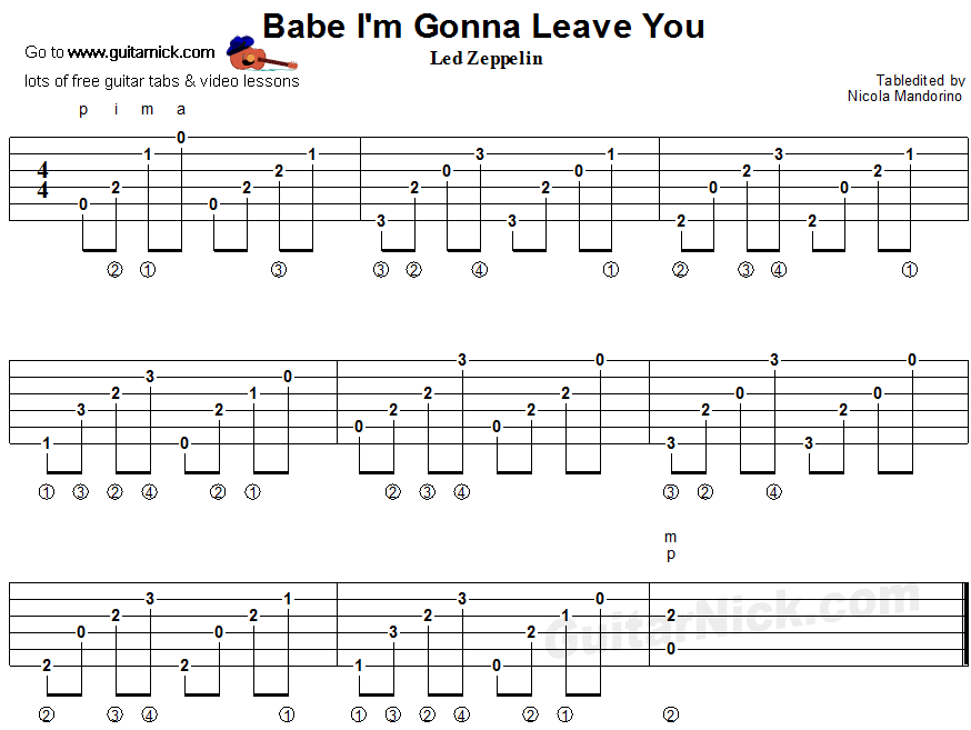 Babe I'm Gonna Leave You - fingerstyle guitar tablature