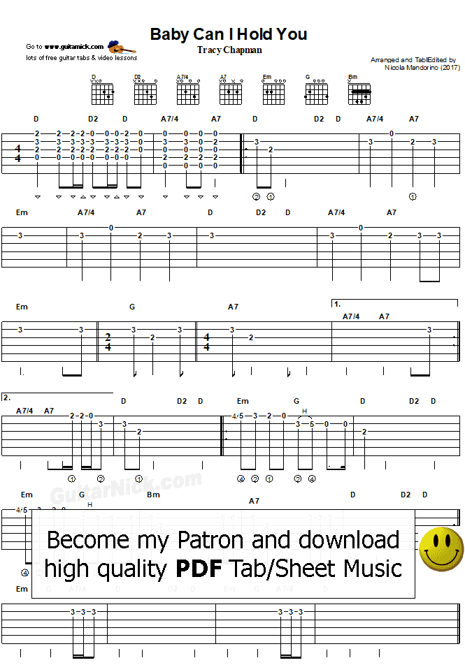 BABY CAN I HOLD YOU - PDF guitar tab