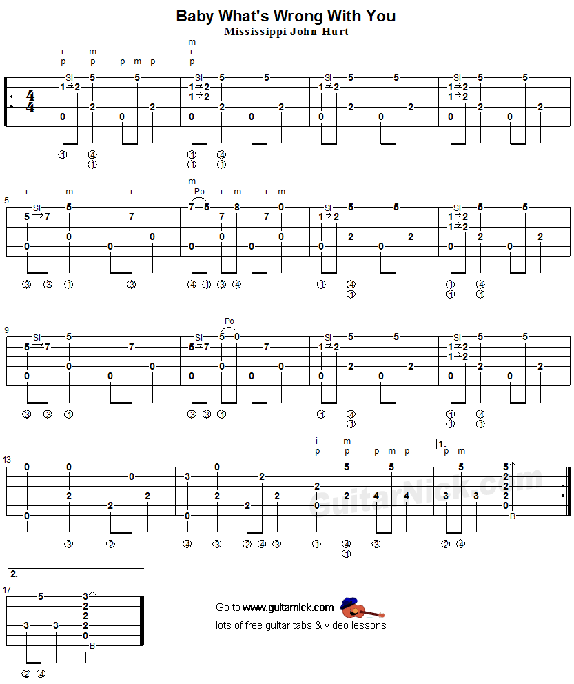 BABY WHAT'S WRONG WITH YOU: Fingerpicking Guitar Tablature