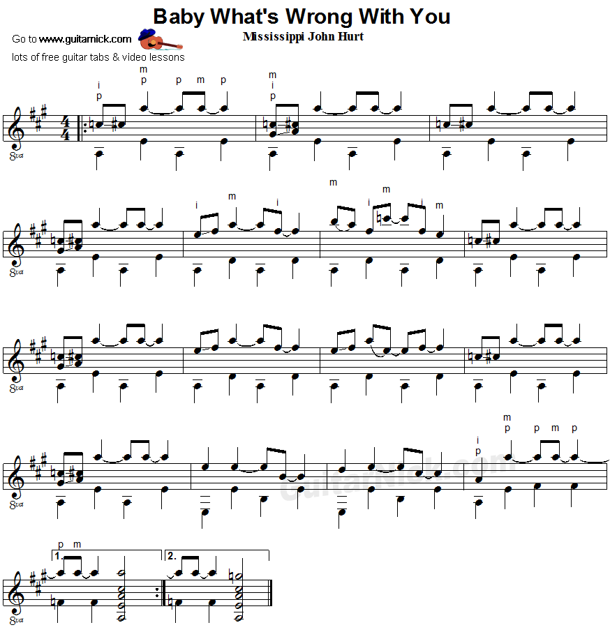 BABY WHAT'S WRONG WITH YOU: Fingerpicking Guitar sheet music