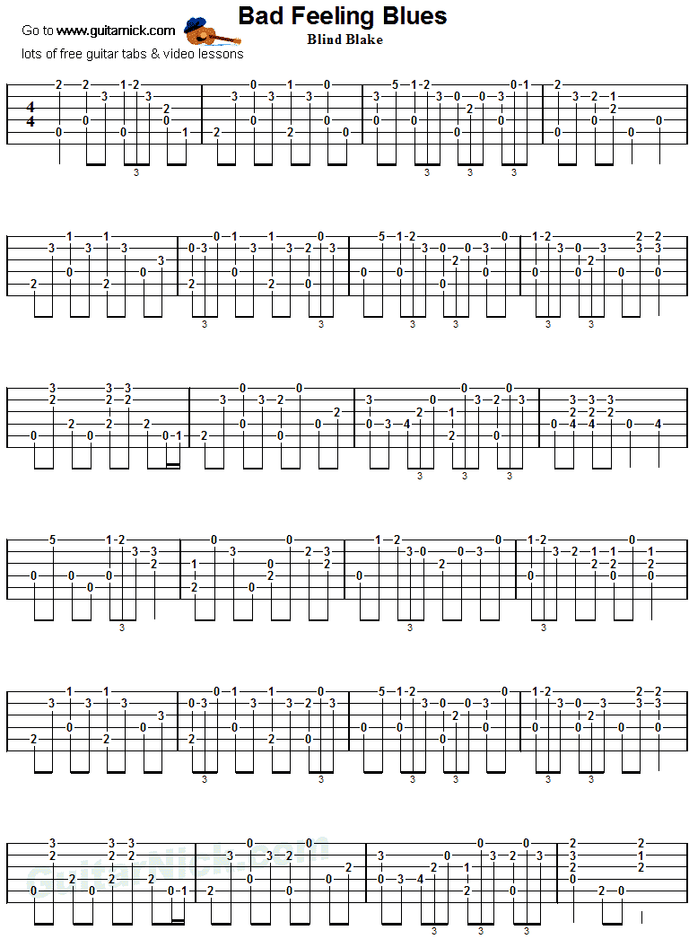 Bad Feeling Blues - Blake, Guitar Tab