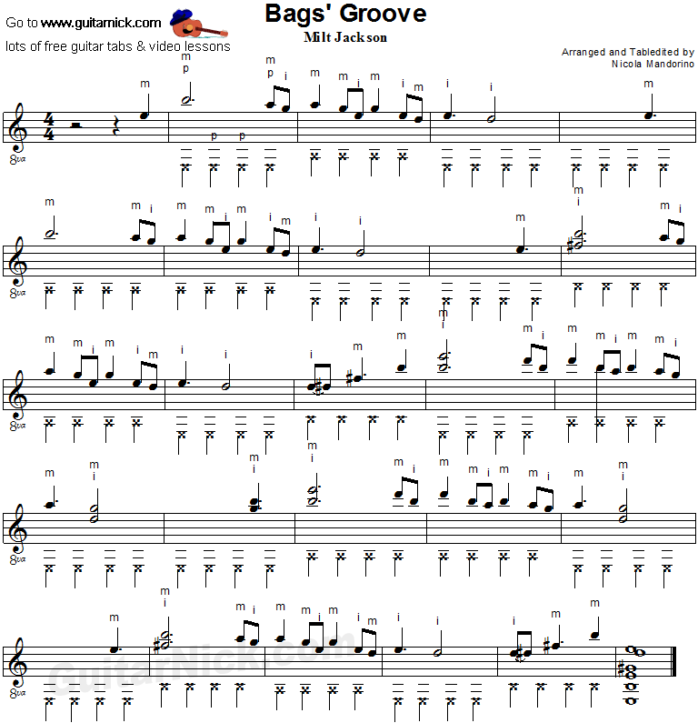 Bags Groove - fingerstyle guitar sheet music