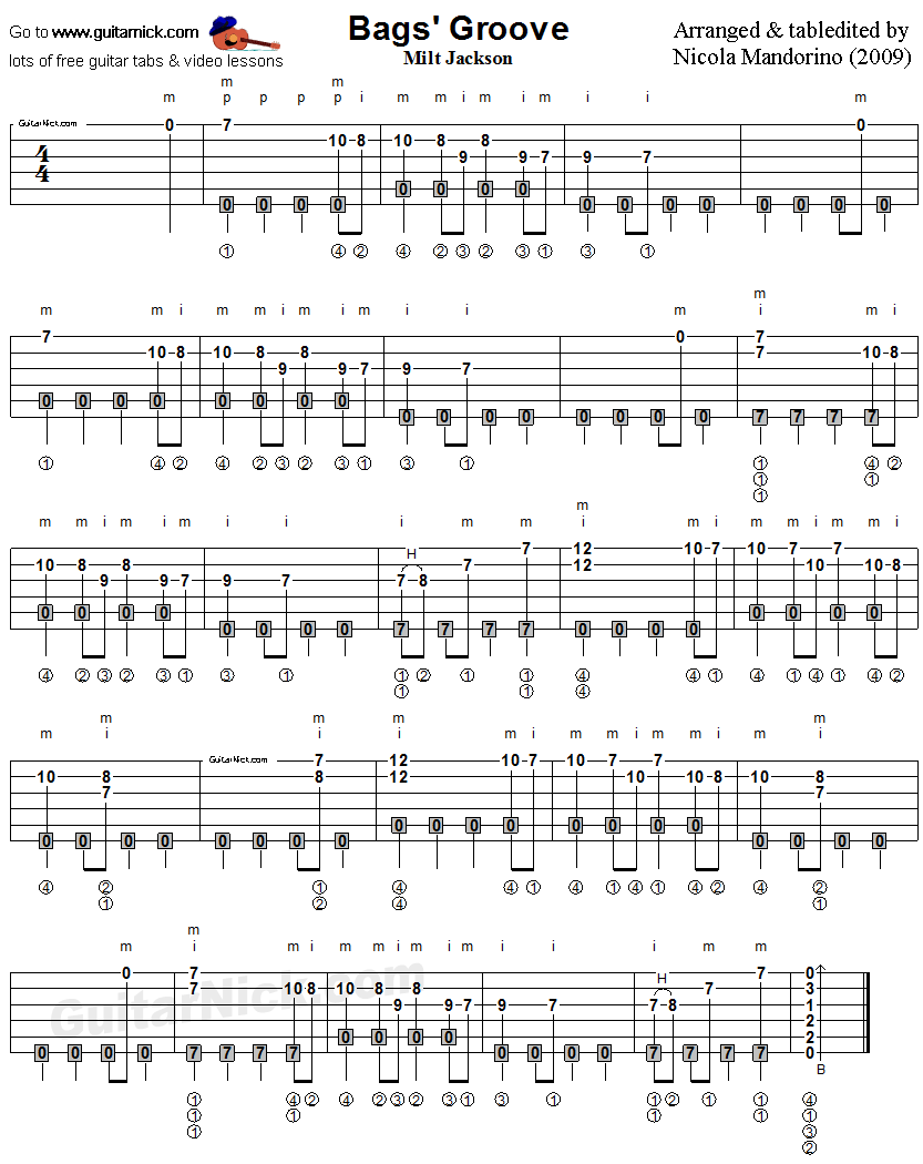 Bags Groove - fingerstyle guitar tab