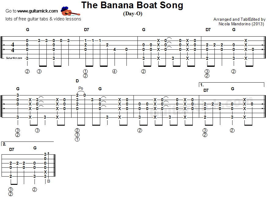 Banana Boat Song - fingerstyle guitar tab