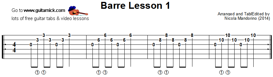 Barre chords guitar lesson 1 - tablature