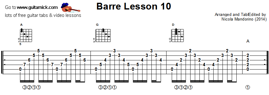 Barre chords guitar lesson 10 - tablature